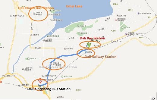 Dali North Bus Station Location Map