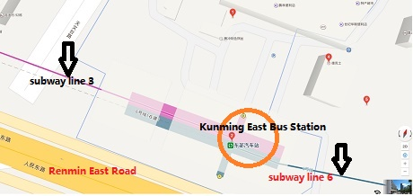Kunming Metro Map.Kunming East Bus Station Location Map Schedule Transit Guide